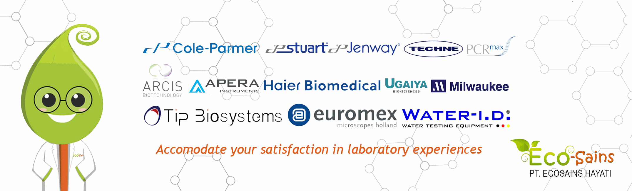 Cole-parmer, stuart-equipment, jenway, techne, PCRmax, ARCIS biotechnology, APERA instrument, haier biomedical, ugaiya bio-sciences, milwaukee, tip biosystems, euromex microscopes, water-id water testing equipment